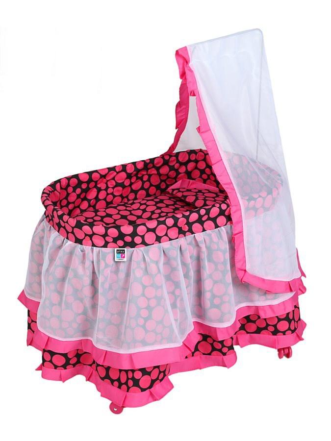 Košík pro panenky PlayTo Nikolka růžový (poškozený obal)