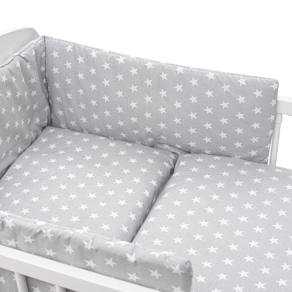 3-dílné ložní povlečení New Baby 90/120 cm šedé Hvězdičky bílé