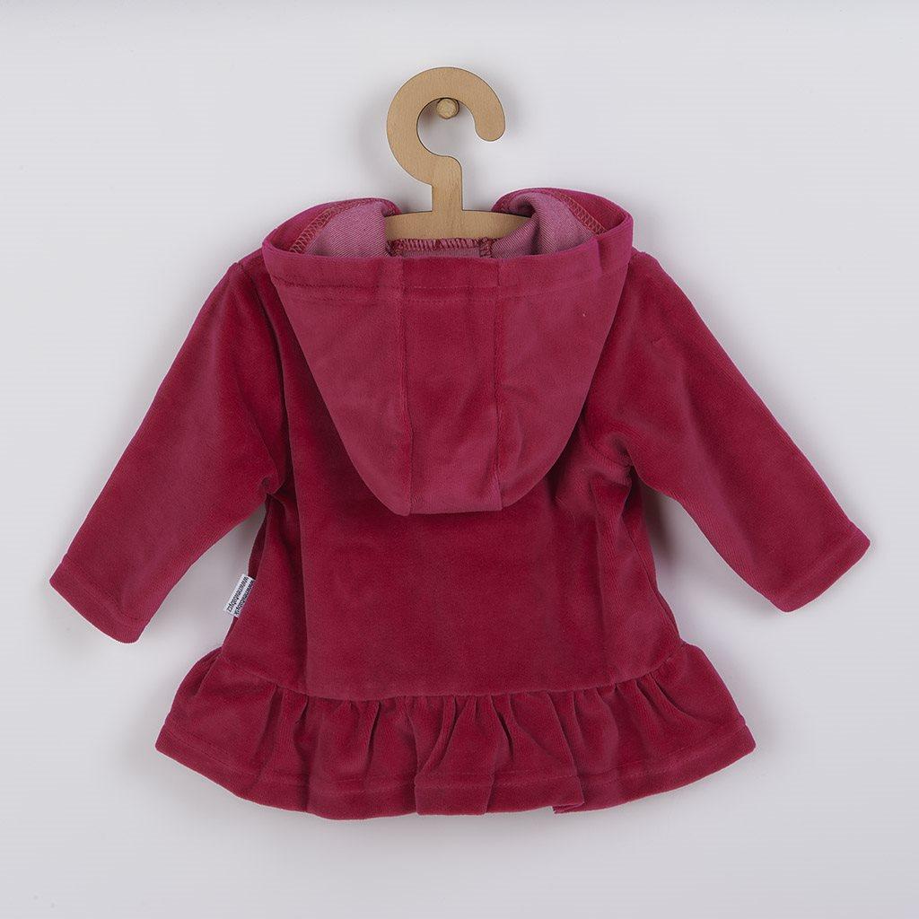 Semišková mikinka s kapucí New Baby Baby tmavě růžová