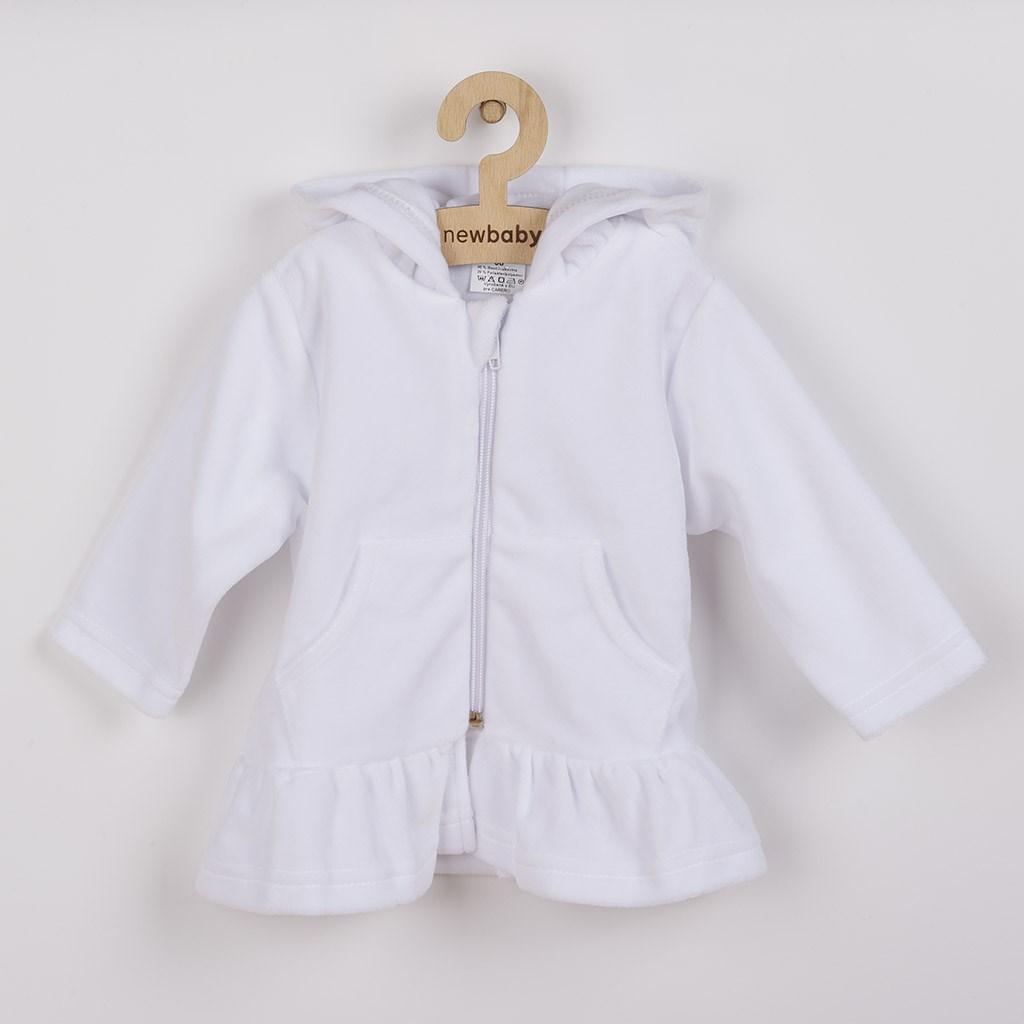 Semišková mikinka s kapucí New Baby Baby bílá, 62 (3-6m)