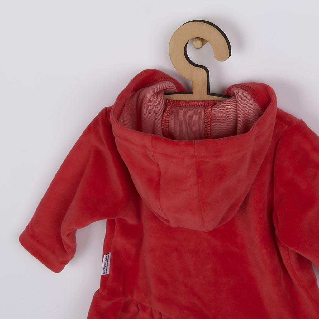 Semišková mikinka s kapucí New Baby Baby červená