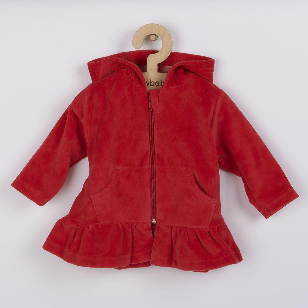 Semišková mikinka s kapucí New Baby Baby červená, Velikost: 80 (9-12m)