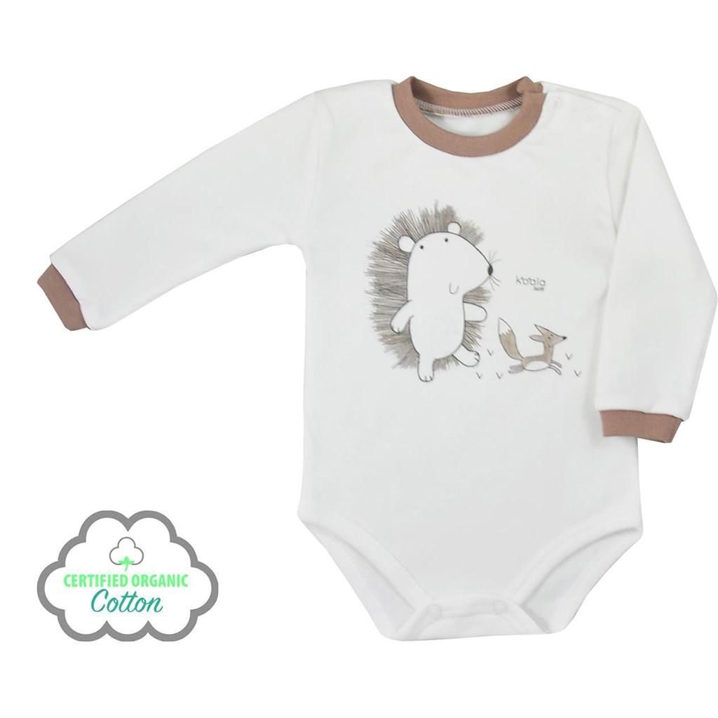 Kojenecké body s dlouhým rukávem z organické bavlny Koala Lesní Přítel béžové, Velikost: 74 (6-9m)