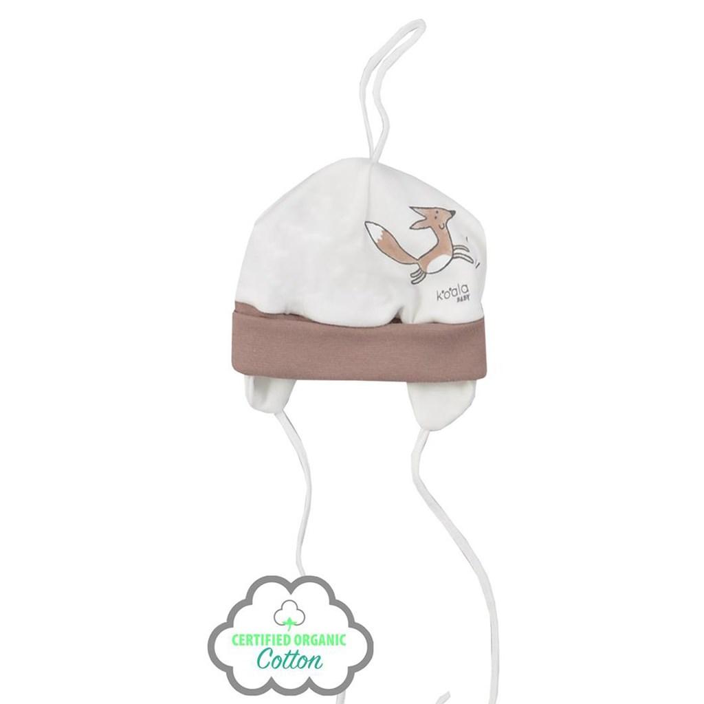 Kojenecká čepička z organické bavlny Koala Lesní Přítel béžová, Velikost: 62 (3-6m)