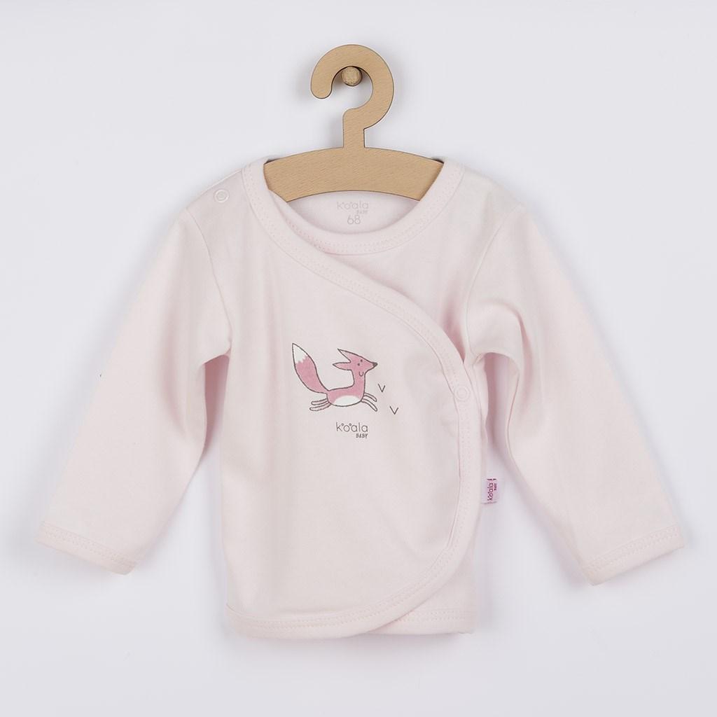 Kojenecká košilka z organické bavlny Koala Lesní Přítel růžová, 68 (4-6m)