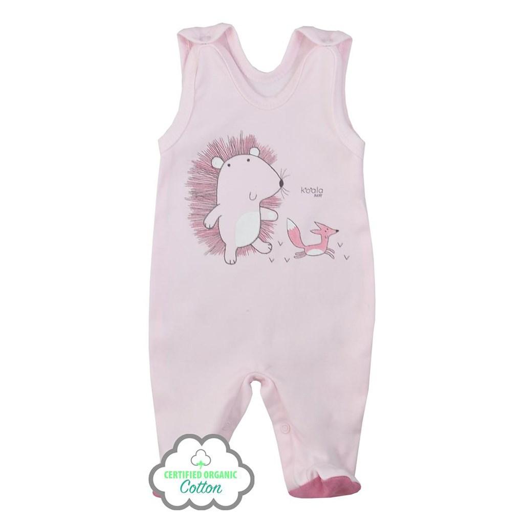 Kojenecké dupačky z organické bavlny Koala Lesní Přítel růžové, 68 (4-6m)