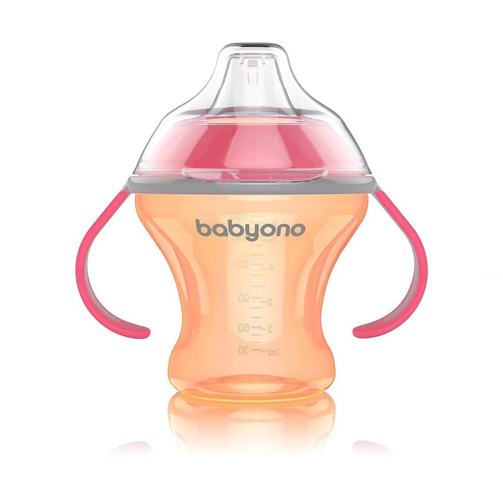 Netekoucí hrneček s měkkým náustkem Baby Ono 180 ml oranžový