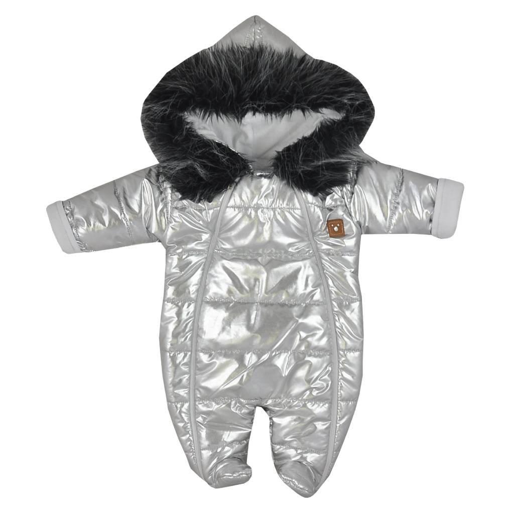 Zimní kojenecká kombinéza s kapucí Koala Lara stříbrná, Velikost: 62 (3-6m)