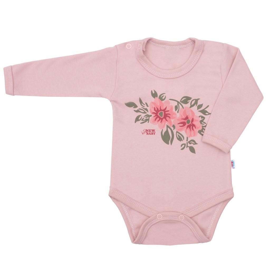 Kojenecké body s dlouhým rukávem New Baby Flowers růžové, 68 (4-6m)