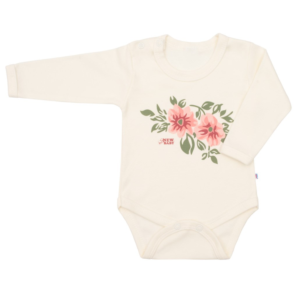 Kojenecké body s dlouhým rukávem New Baby Flowers béžové, 74 (6-9m)
