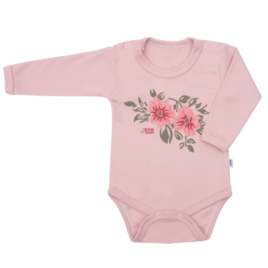 Kojenecké body s dlouhým rukávem New Baby Flowers růžové, 80 (9-12m)