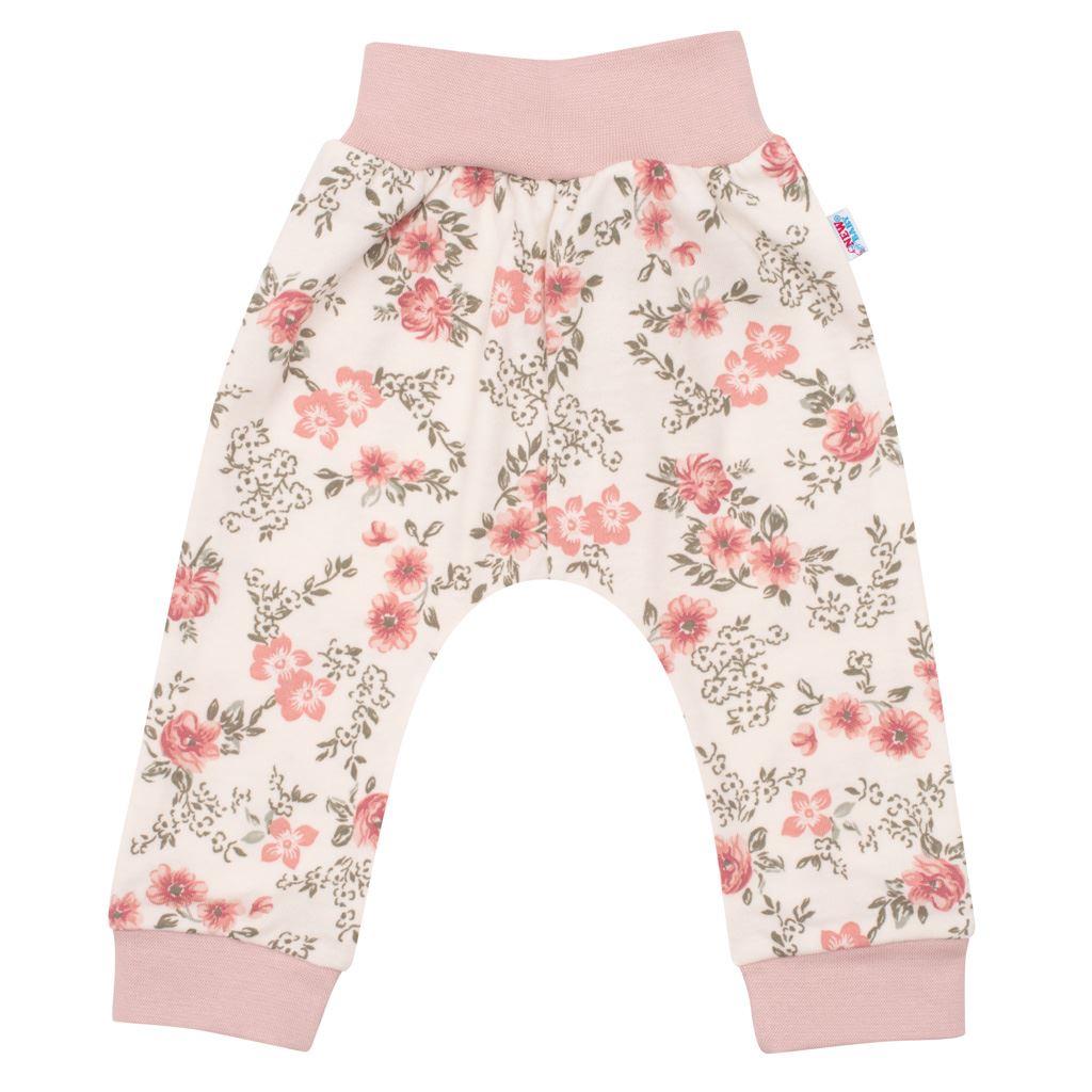 Kojenecké tepláčky New Baby Flowers růžové, 56 (0-3m)
