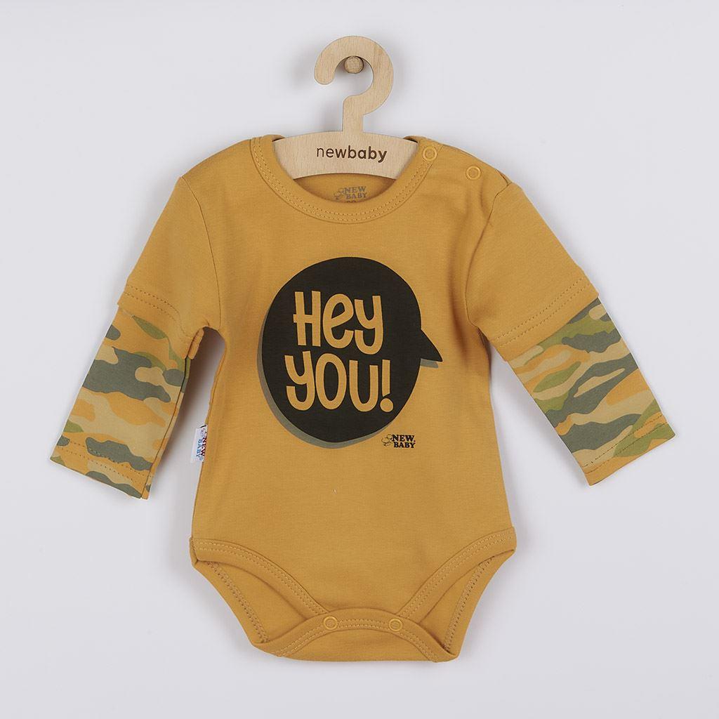 Kojenecké body s dlouhým rukávem New Baby With Love hořčicové, vel. 62 (3-6m)