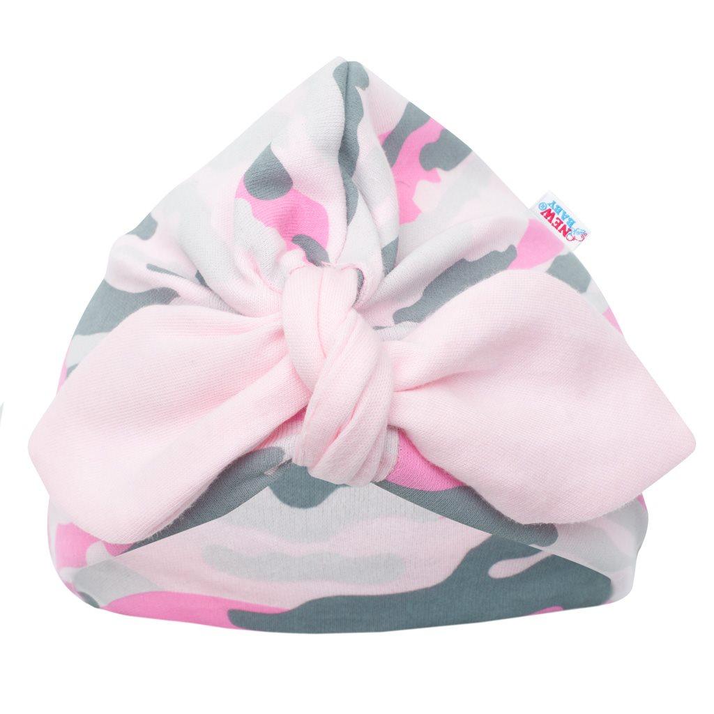 Kojenecká bavlněná čepička turban New Baby With Love růžová, 62 (3-6m)