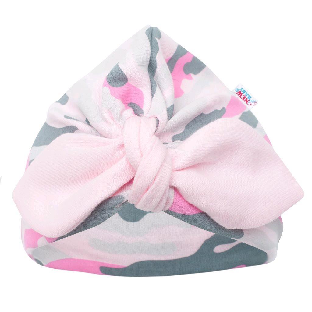 Kojenecká bavlněná čepička turban New Baby With Love růžová, Velikost: 68 (4-6m)