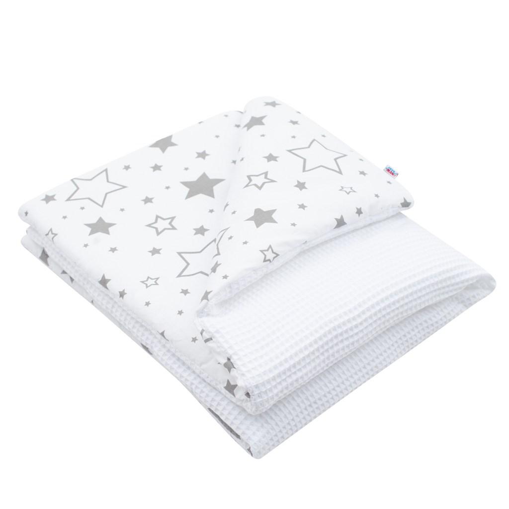 Dětská deka s výplní New Baby Vafle bílá hvězdičky 80x102 cm