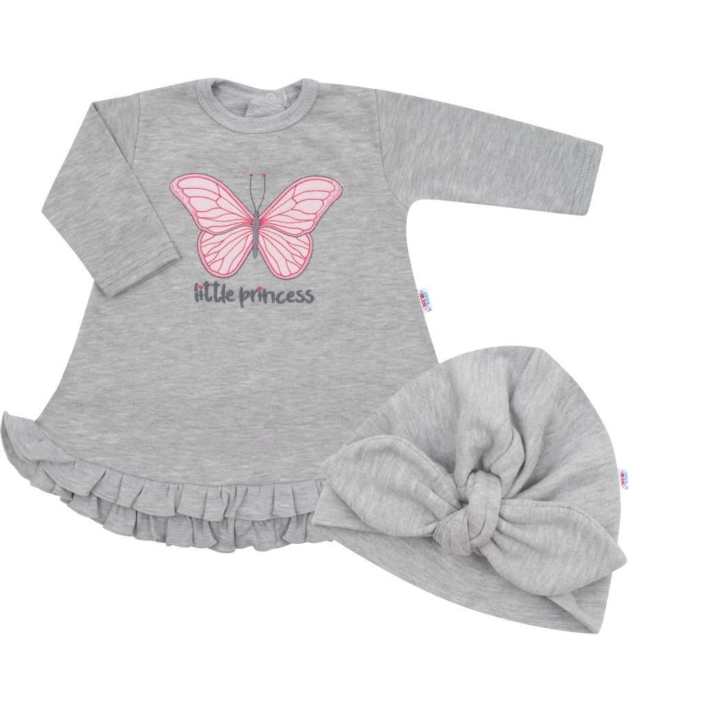 Kojenecké šatičky s čepičkou-turban New Baby Little Princess šedé, 68 (4-6m)