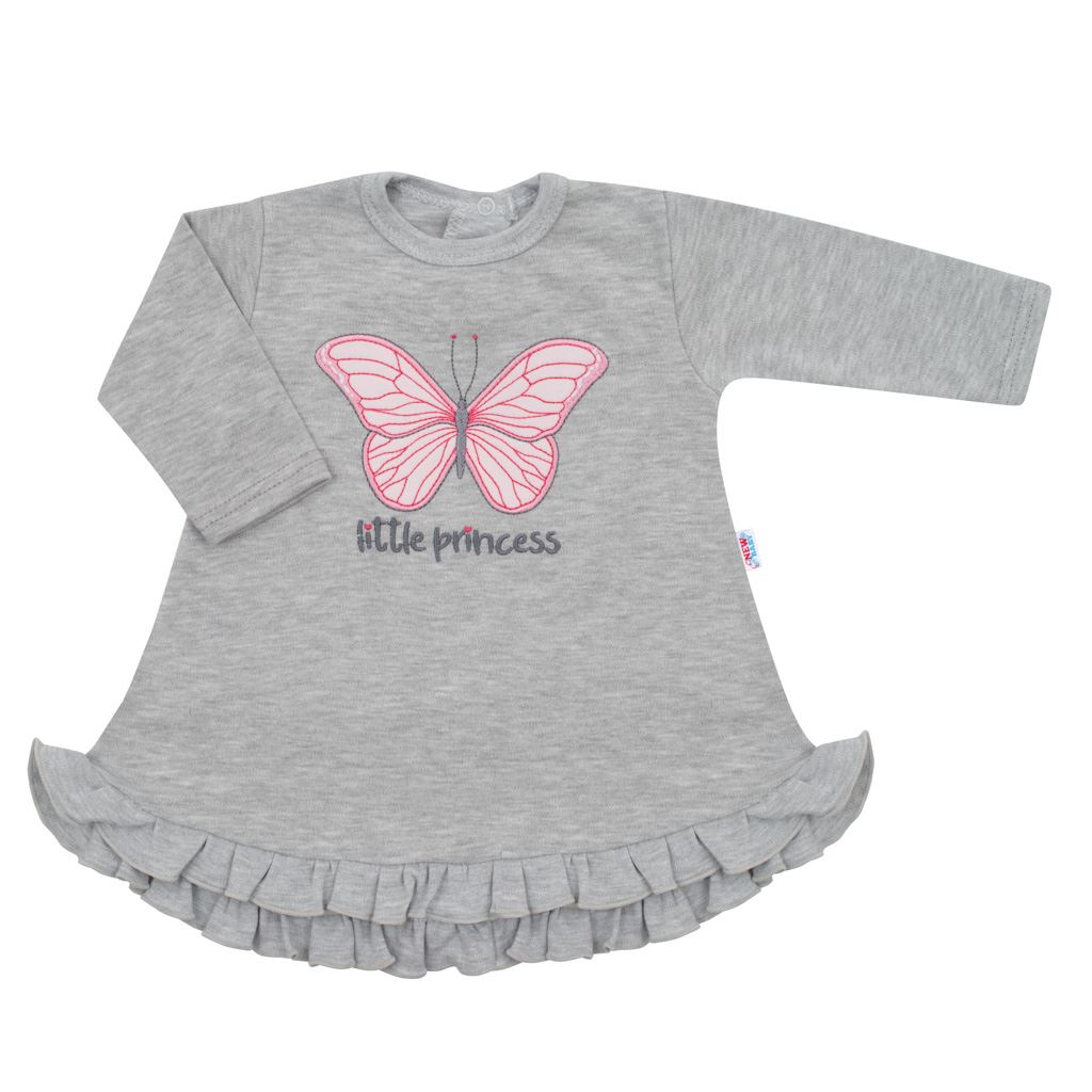 Kojenecké šatičky s čepičkou-turban New Baby Little Princess šedé vel. 68 (4-6m)