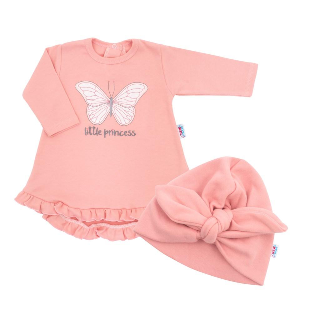 Kojenecké šatičky s čepičkou-turban New Baby Little Princess růžové vel. 80 (9-12m)