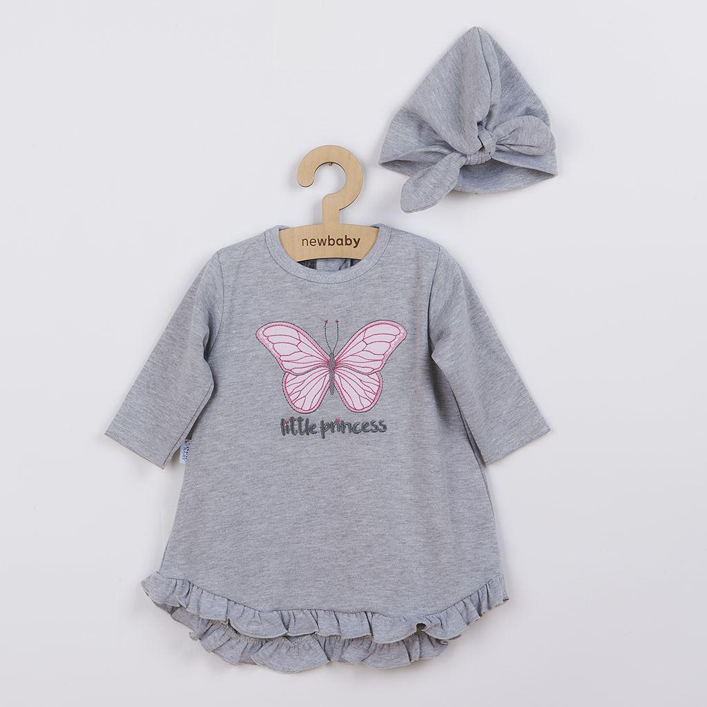 Kojenecké šatičky s čepičkou-turban New Baby Little Princess šedé vel. 80 (9-12m)