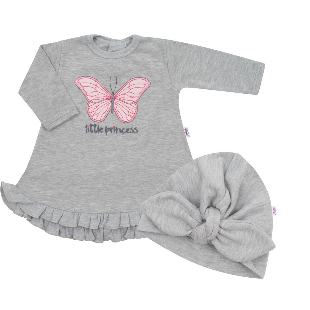 Kojenecké šatičky s čepičkou-turban New Baby Little Princess šedé, 86 (12-18m)