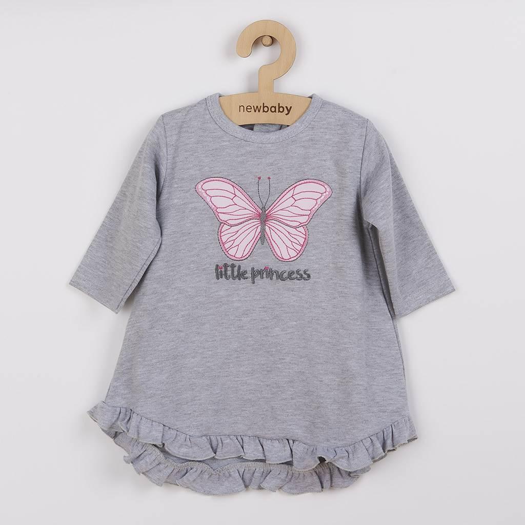 Kojenecké šatičky s čepičkou-turban New Baby Little Princess šedé vel. 86 (12-18m)