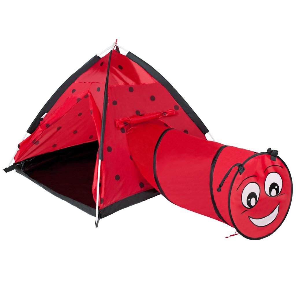 Dětský stan PlayTo Beruška s tunelem červený (poškozený obal)