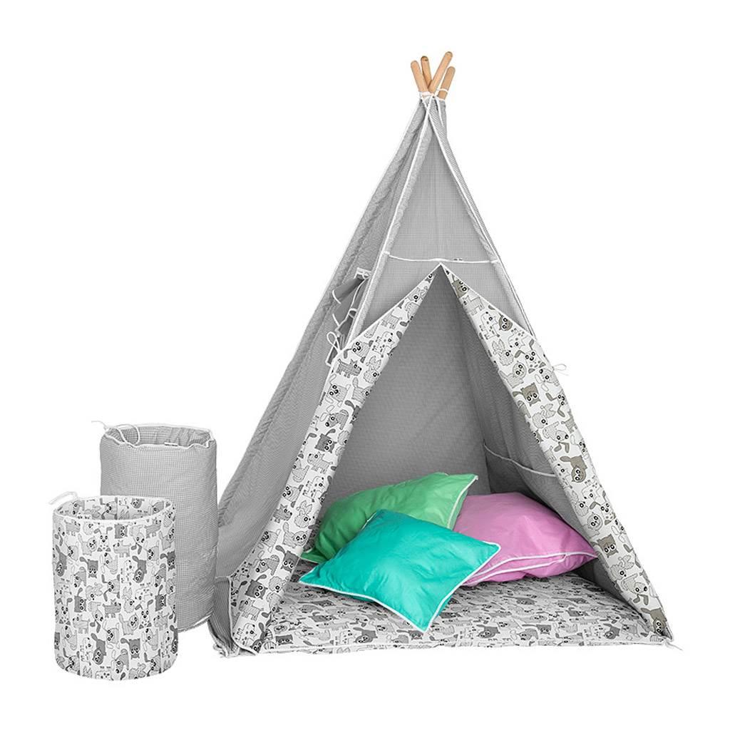 BAZÁREK Dětský luxusní stan s výbavou Teepee Akuku šedo-bílý