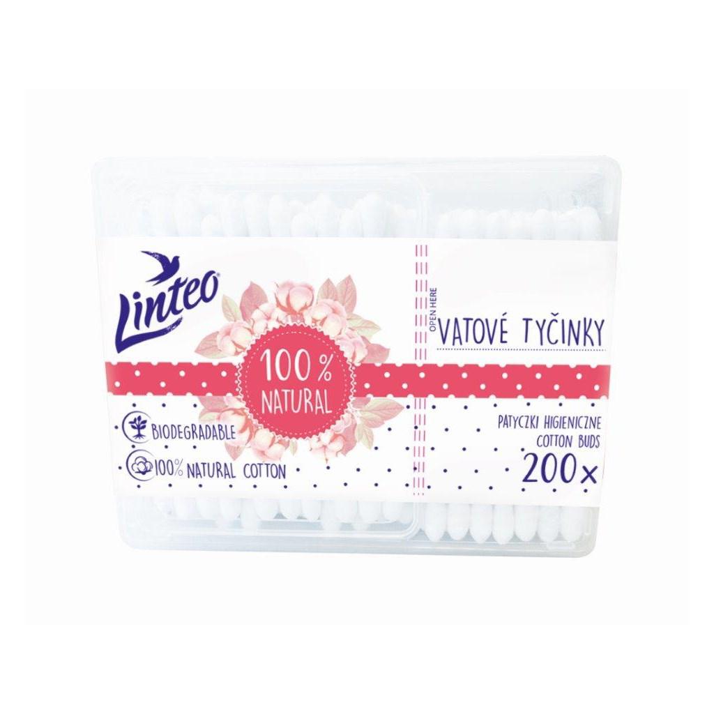 Papírové vatové tyčinky 100% natural Linteo 200 ks v boxu