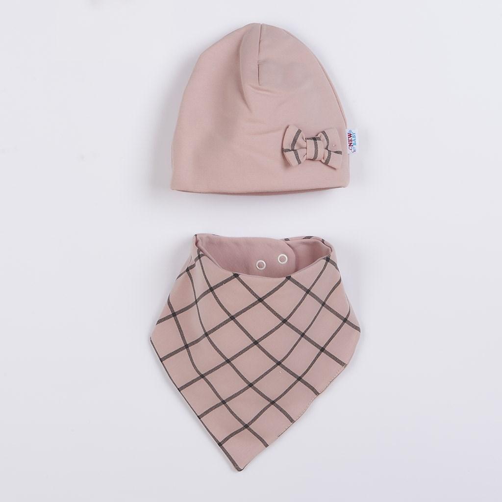 Kojenecká čepička s šátkem na krk New Baby Missy růžová, Velikost: 68 (4-6m)
