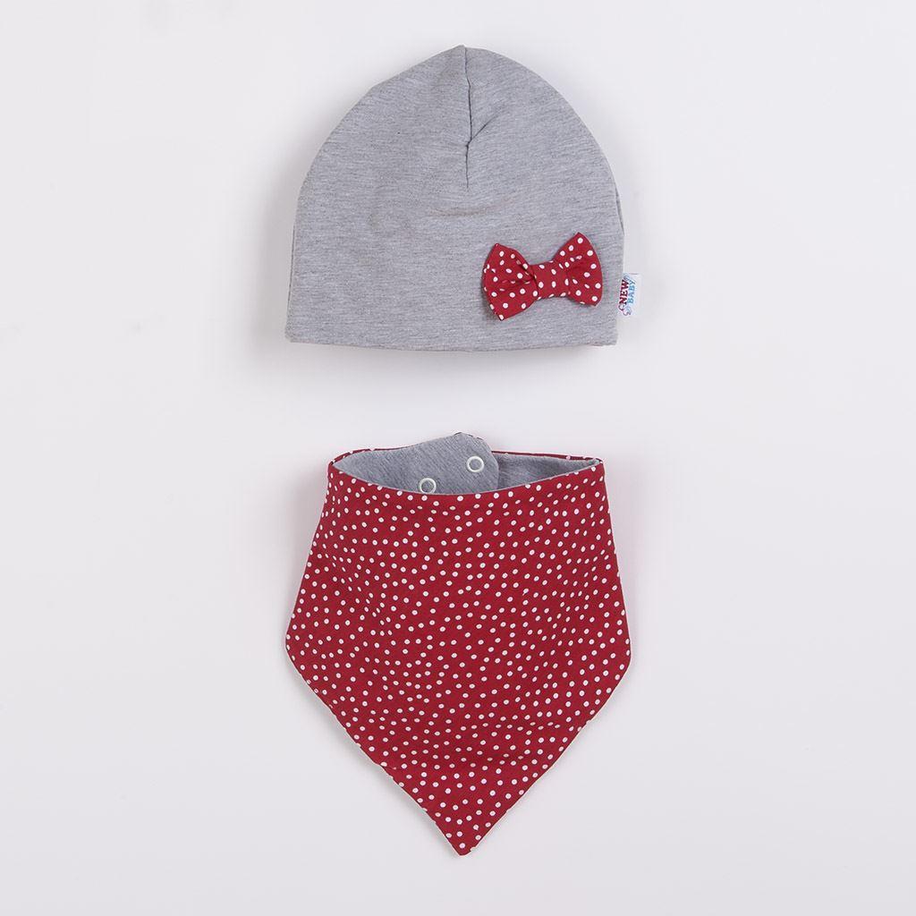 Kojenecká čepička s šátkem na krk New Baby Missy šedo-červená