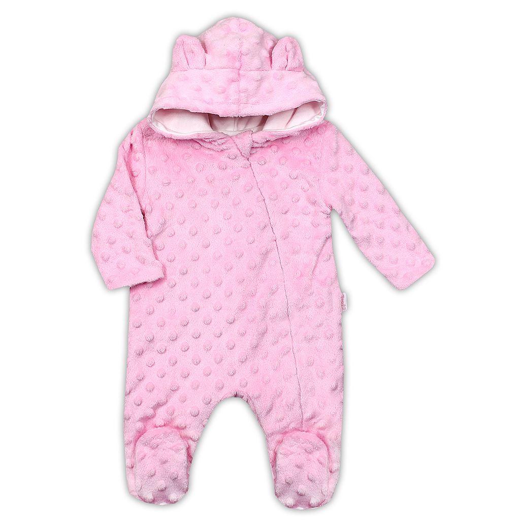 Zimní kojenecký overal z Minky Nicol Bubbles růžový, 62 (3-6m)
