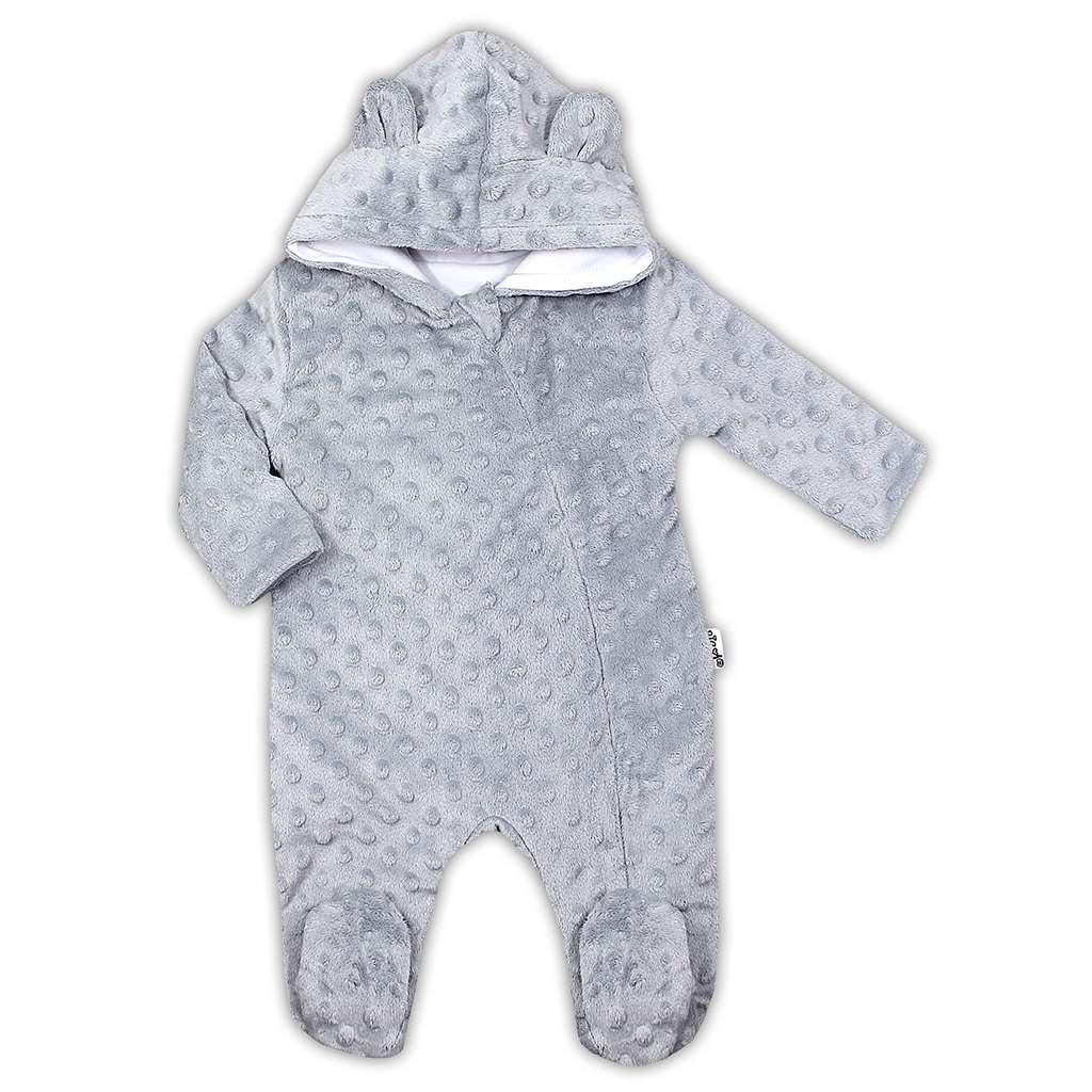 Zimní kojenecký overal z Minky Nicol Bubbles šedý, 68 (4-6m)