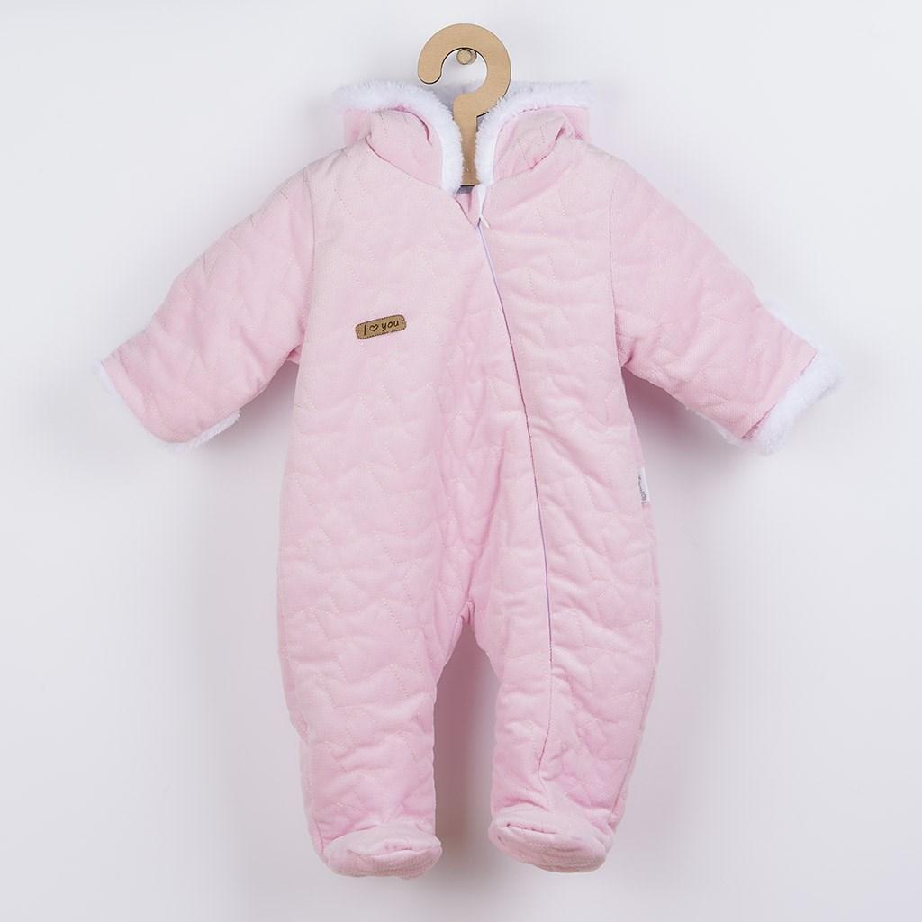 Zimní kojenecký overal Nicol Kids Winter růžový, 56 (0-3m)