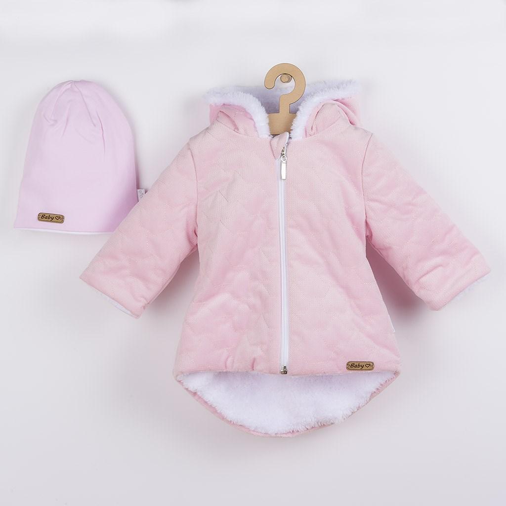 Zimní kojenecký kabátek s čepičkou Nicol Kids Winter růžový, 56 (0-3m)