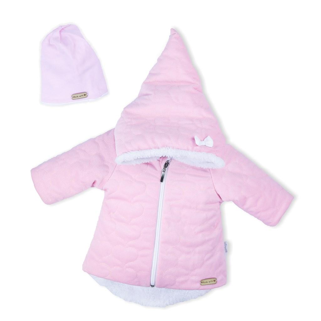 Zimní kojenecký kabátek s čepičkou Nicol Kids Winter růžový, 62 (3-6m)