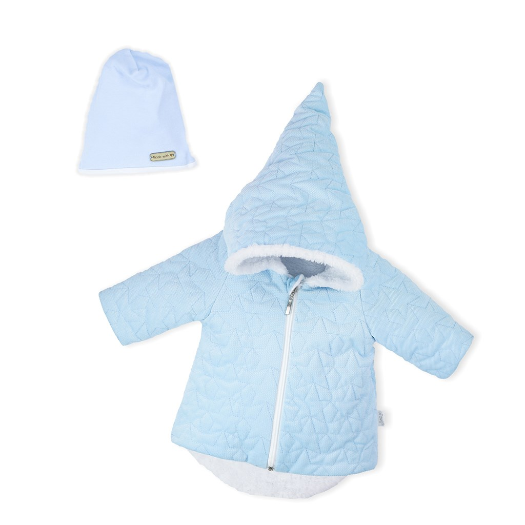Zimní kojenecký kabátek s čepičkou Nicol Kids Winter modrý, 56 (0-3m)