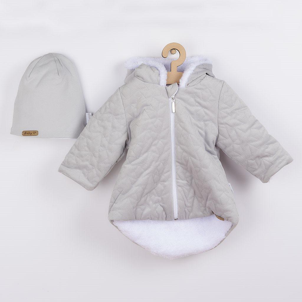 Zimní kojenecký kabátek s čepičkou Nicol Kids Winter šedý, 56 (0-3m)