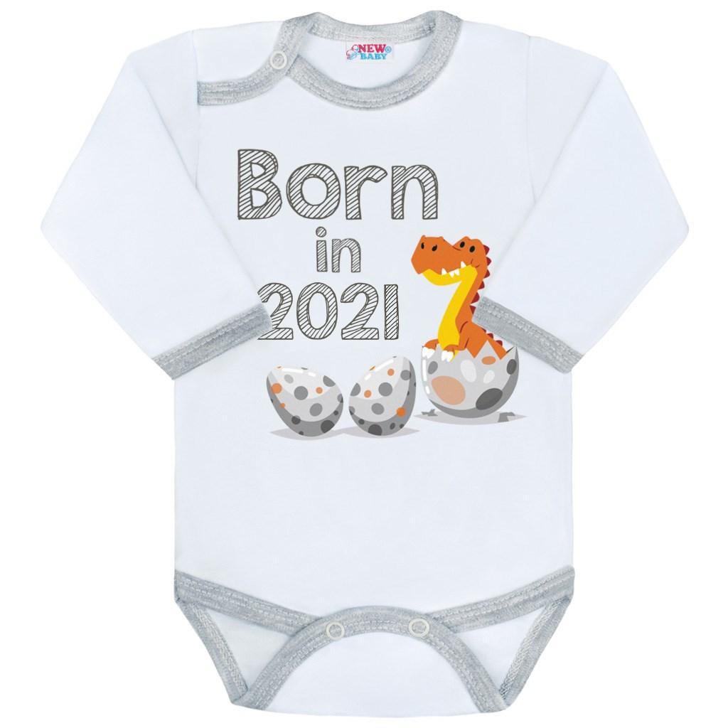 Body s potiskem New Baby Born in 2021 šedo-bílé, 74 (6-9m)