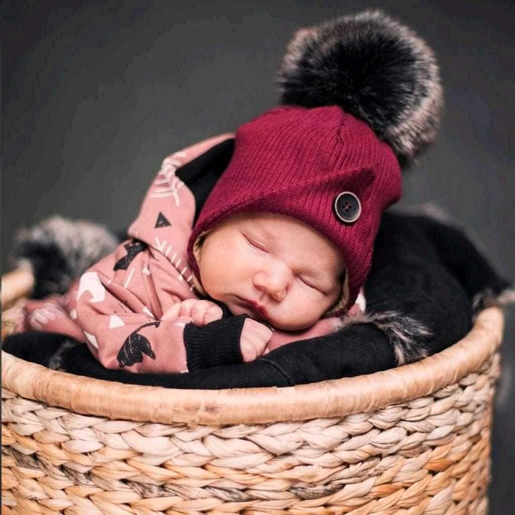 Kojenecká zimní čepička New Baby Great bordó