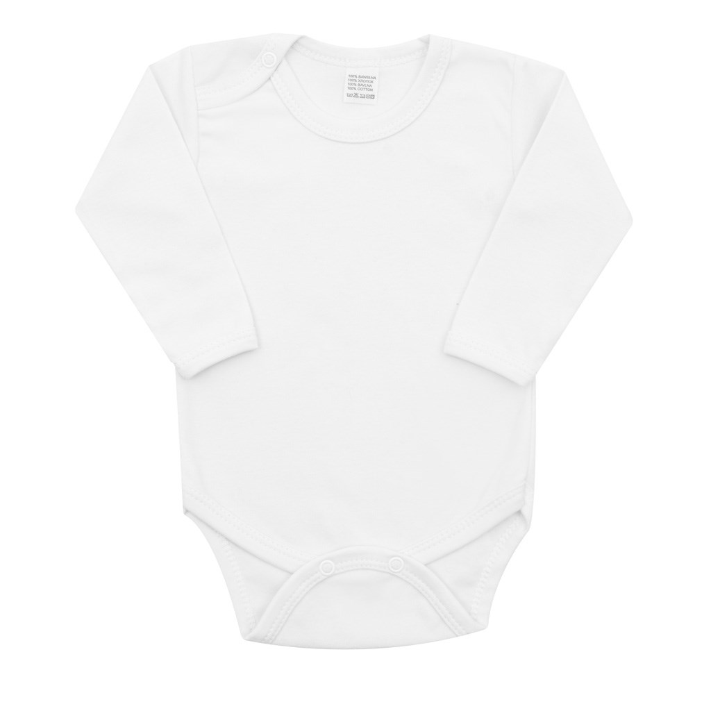 Luxusní body dlouhý rukáv New Baby - bílé, vel. 56 (0-3m)