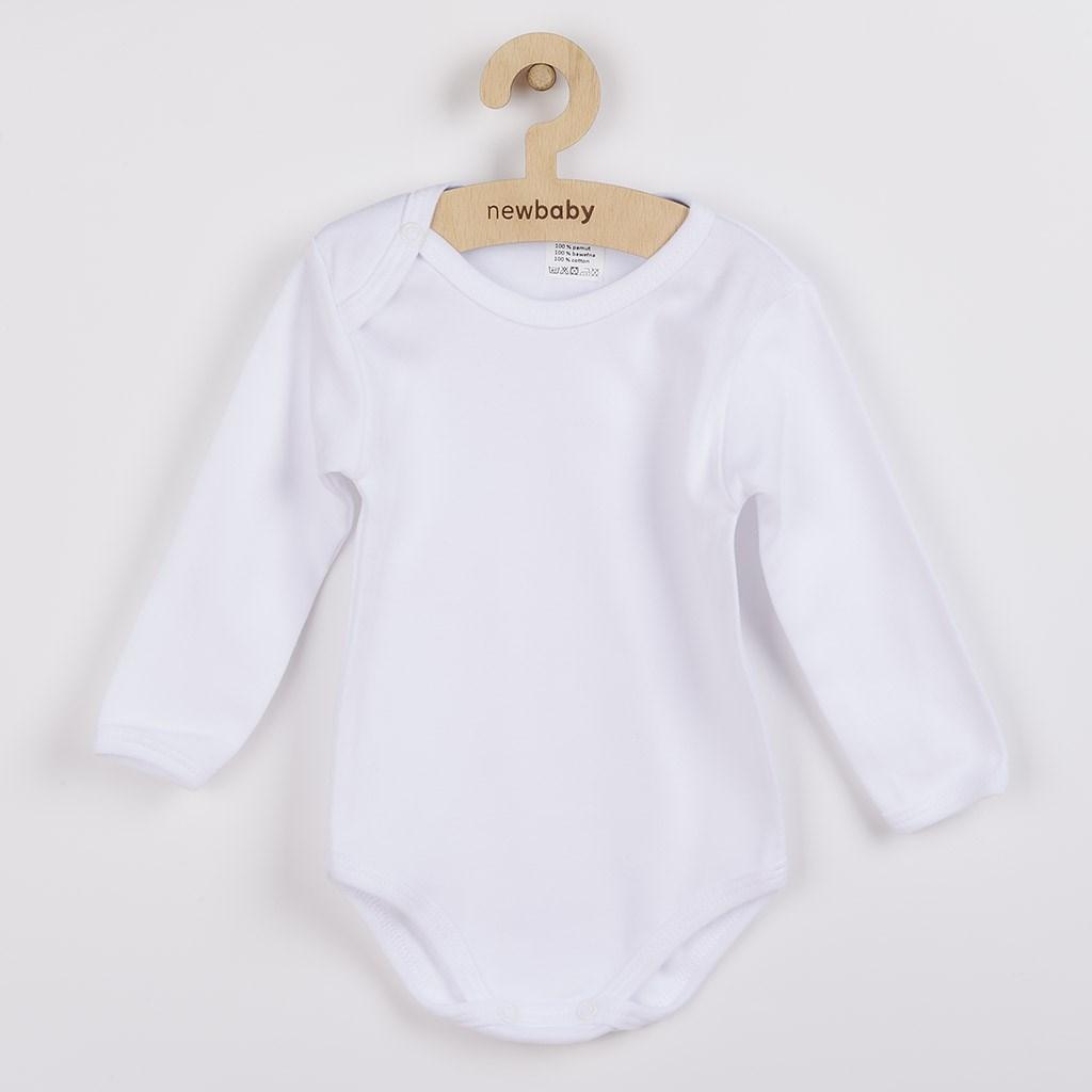 Luxusní body dlouhý rukáv New Baby - bílé, vel. 74 (6-9m)