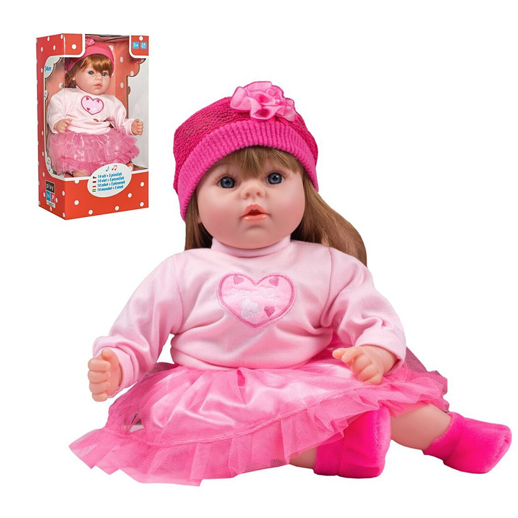 Slovensky mluvící a zpívající dětská panenka PlayTo Tina 46 cm (poškozený obal)