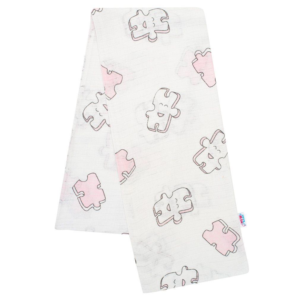 Bavlněná plena s potiskem New Baby bílá puzzle růžové