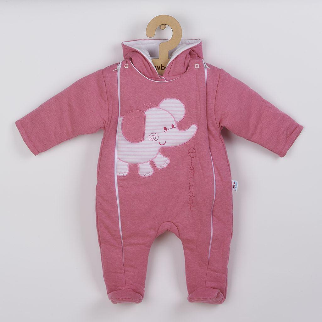 Zimní kombinézka New Baby Winter Elephant růžová, Velikost: 56 (0-3m)