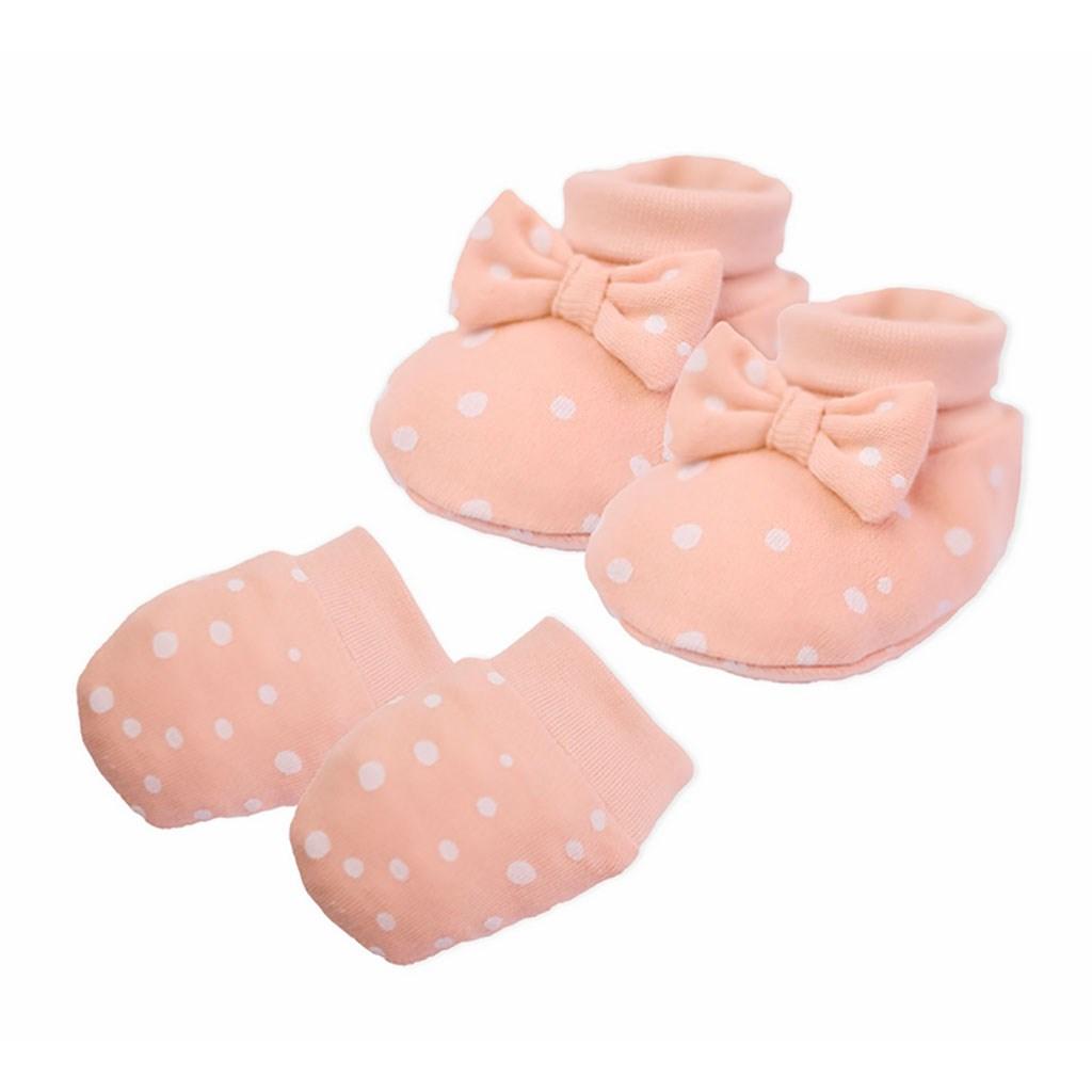 Kojenecký bavlněný set-capáčky a rukavičky Nicol Rainbow růžový, Univerzální