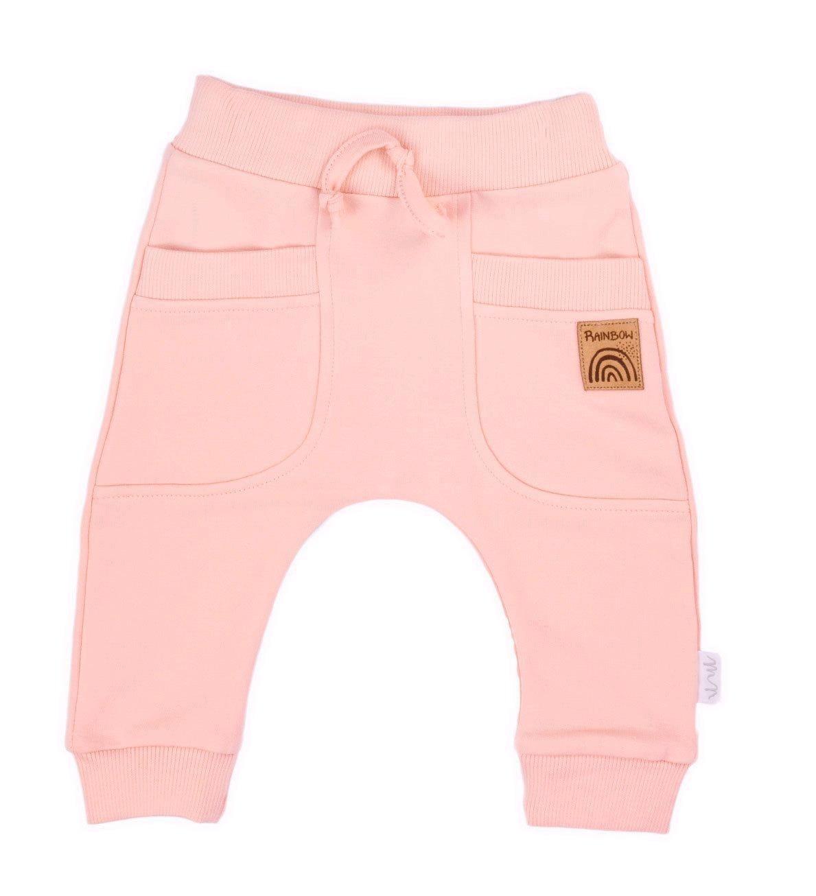Kojenecké tepláčky Nicol Rainbow růžové, Velikost: 80 (9-12m)