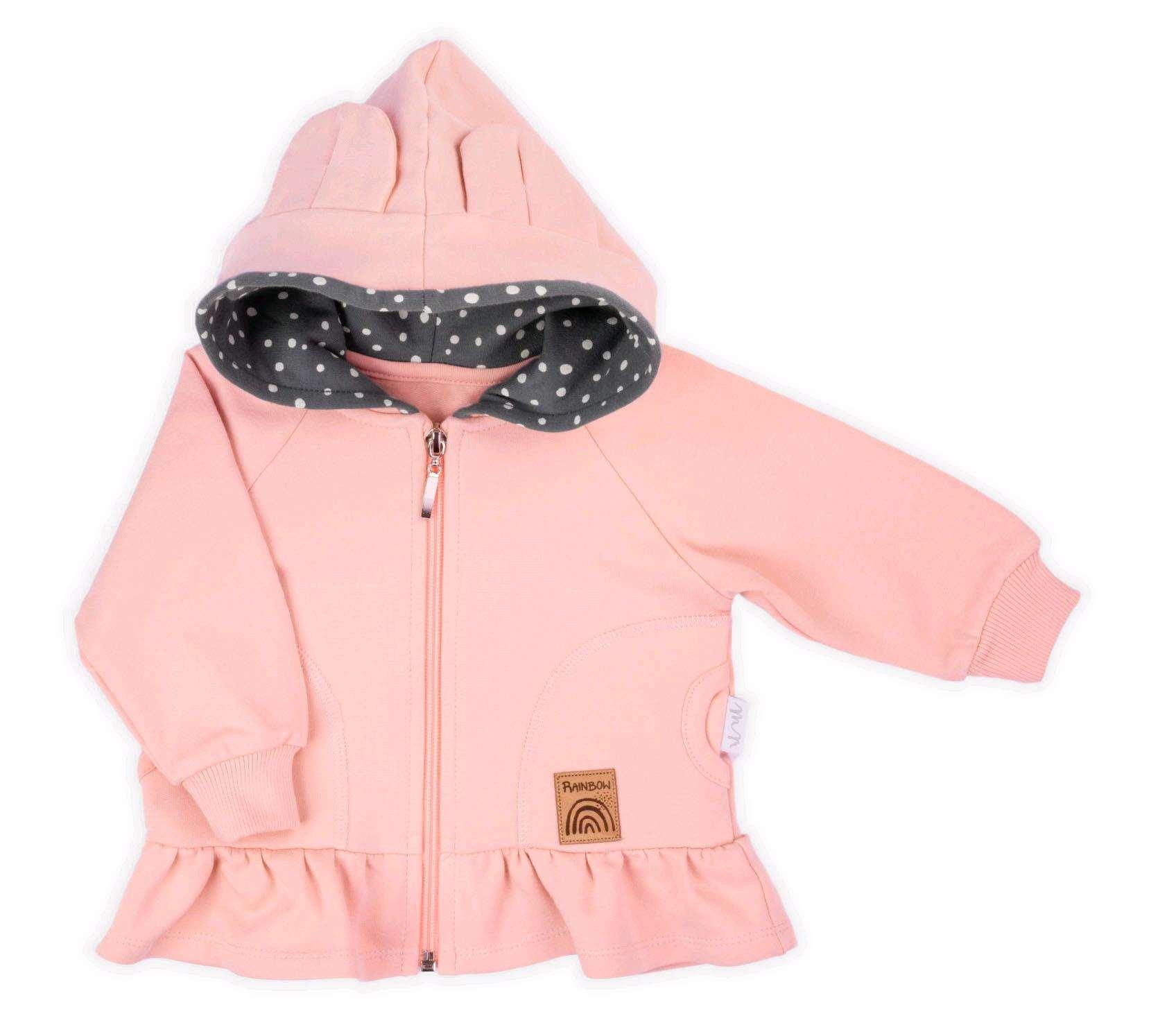 Kojenecká mikinka s kapucí Nicol Rainbow růžová, Velikost: 92 (18-24m)