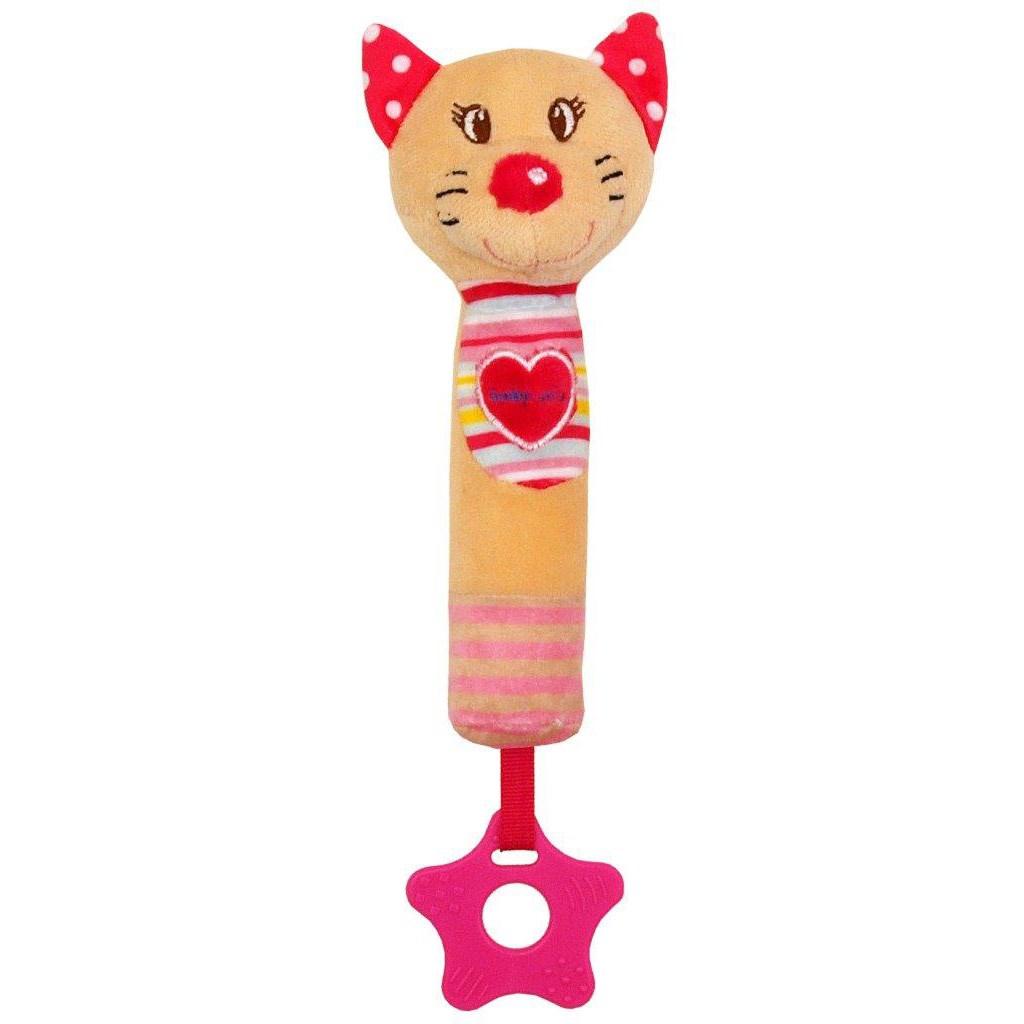 Dětská pískací plyšová hračka s kousátkem Baby Mix kočka