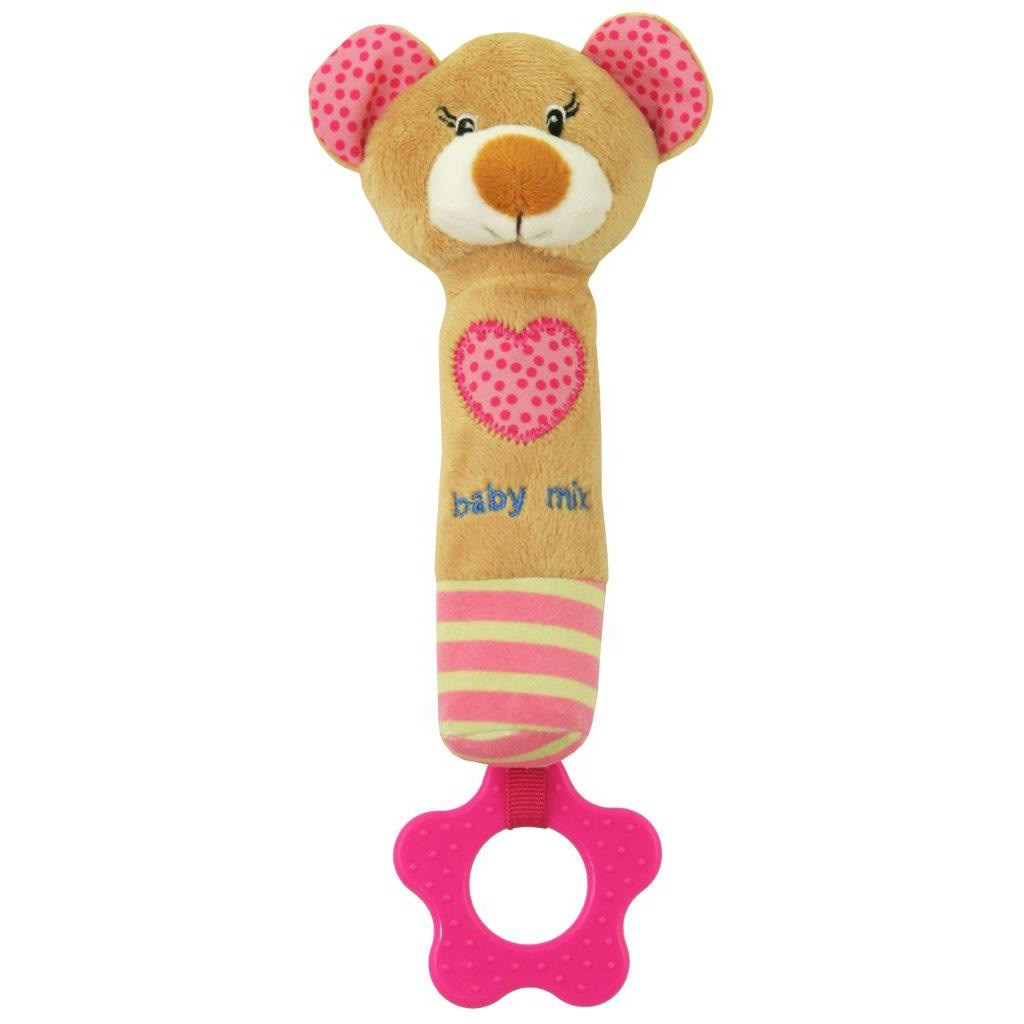 Dětská pískací plyšová hračka s kousátkem Baby Mix medvídek růžový